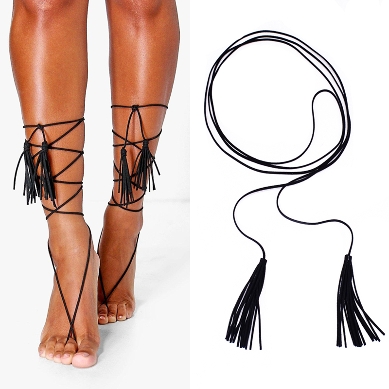 Kittenup 1PC Boho Faux Suede Leather Anklet Leg Chain Vintage Multilayer Tassel Barefoot Sandal for Women