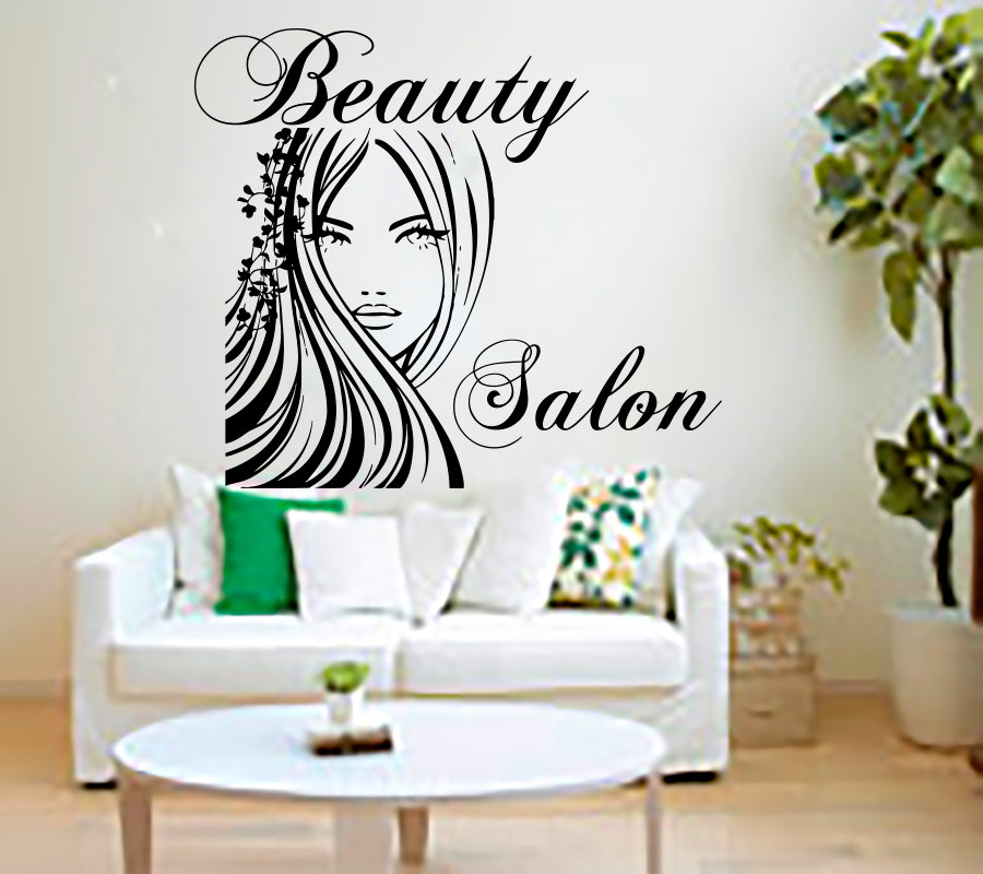Buy beauty salon wall stickers decal for Autocollant mural texte