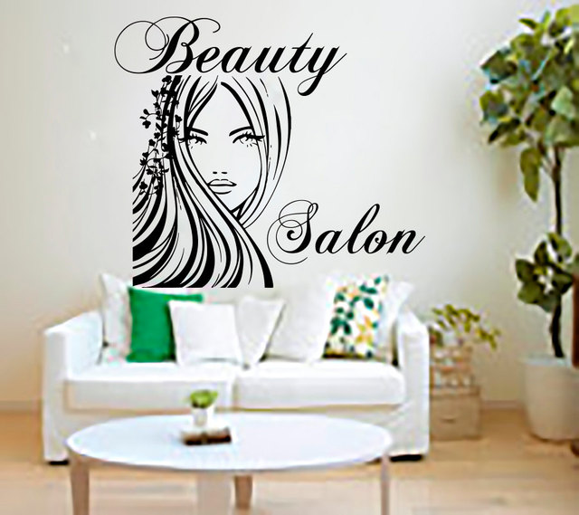 Buy beauty salon wall stickers decal hairdressing salon deco - Decoration mural salon ...