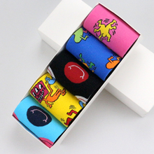 5 Pairs Cartoon Character/Smiley Face Colorful keith haring Funny Women Men Unisex Socks Fancy Happy Cotton Cozy