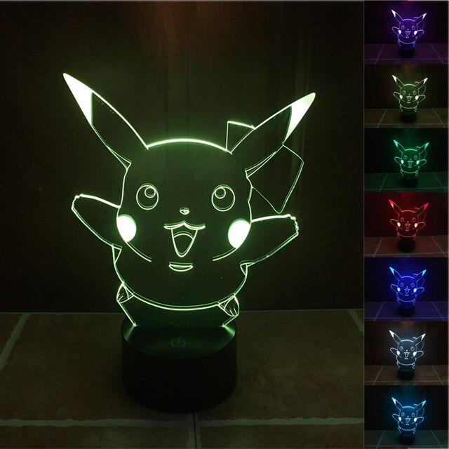 pokemon go pikachu action figue 3d illusion led night light 7colors