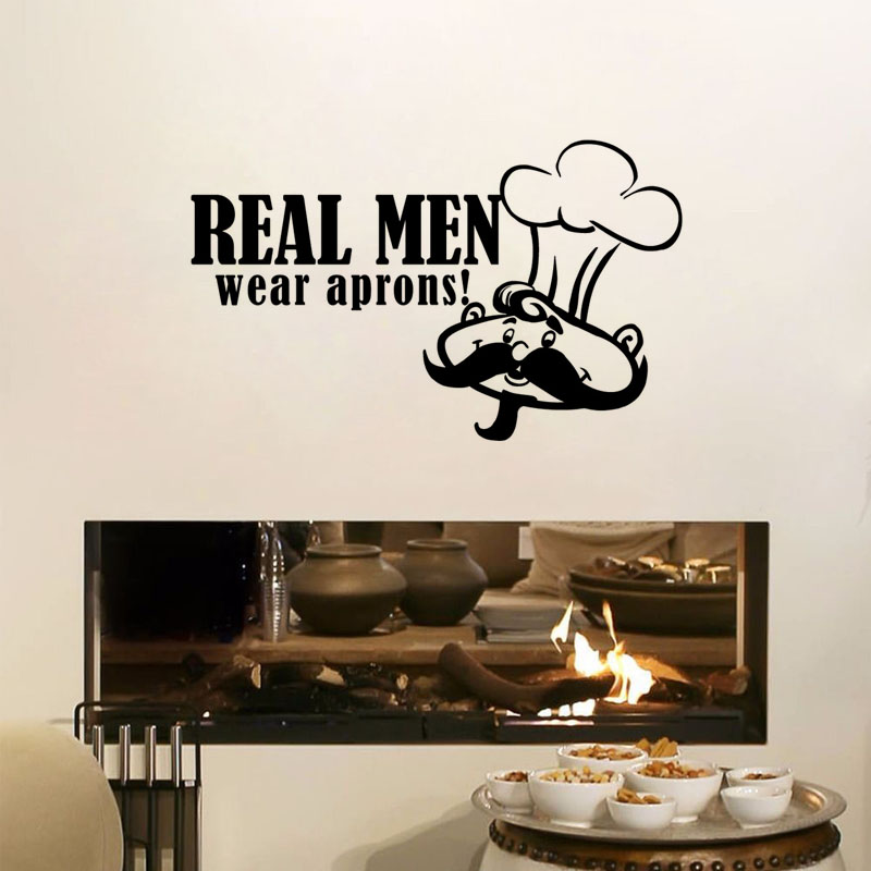 Art Mural Real Man Wear Apron Quote Wall Sticker Chef With Moustache Vinyl Removable  Wall Decal Kitchen Decoration
