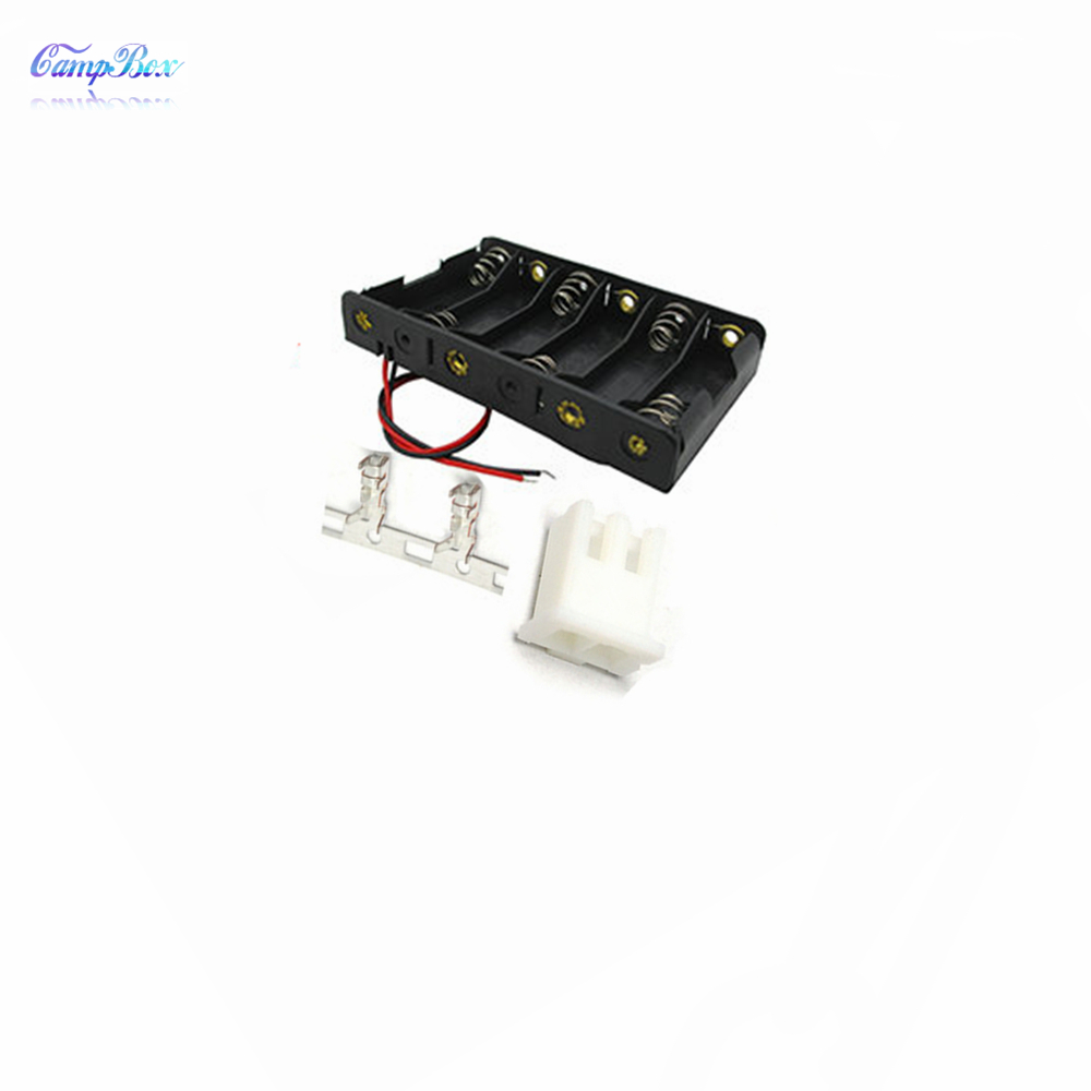 50Pcs 6xAA Battery Case Holder Socket Wire Junction Boxes With 15cm Wires XH 2 54 Header