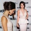 2016 Formal de la Sirena Sheer Tulle Cuello Peplum de Encaje Corto Vestido Clebrity Pink Longitud de La Rodilla Satén Vestidos de Selena Gomez Socila