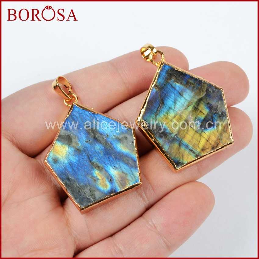 BOROSA Clearance Sale 5/10pcs Fashion Gold Color Hexagon Natural Labradorite Faceted Pendant Bead Jewelry for Necklace G0541