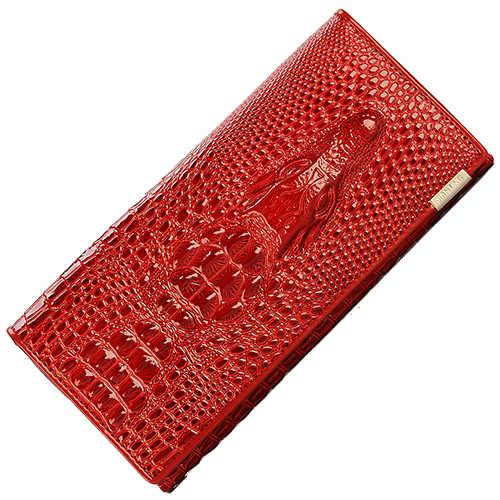 JIULIN женская с замком кошелек женская сумочка портмоне держатель настоящая искусственная кожа 3D Аллигатор Крокодил длинный клатч кошельки