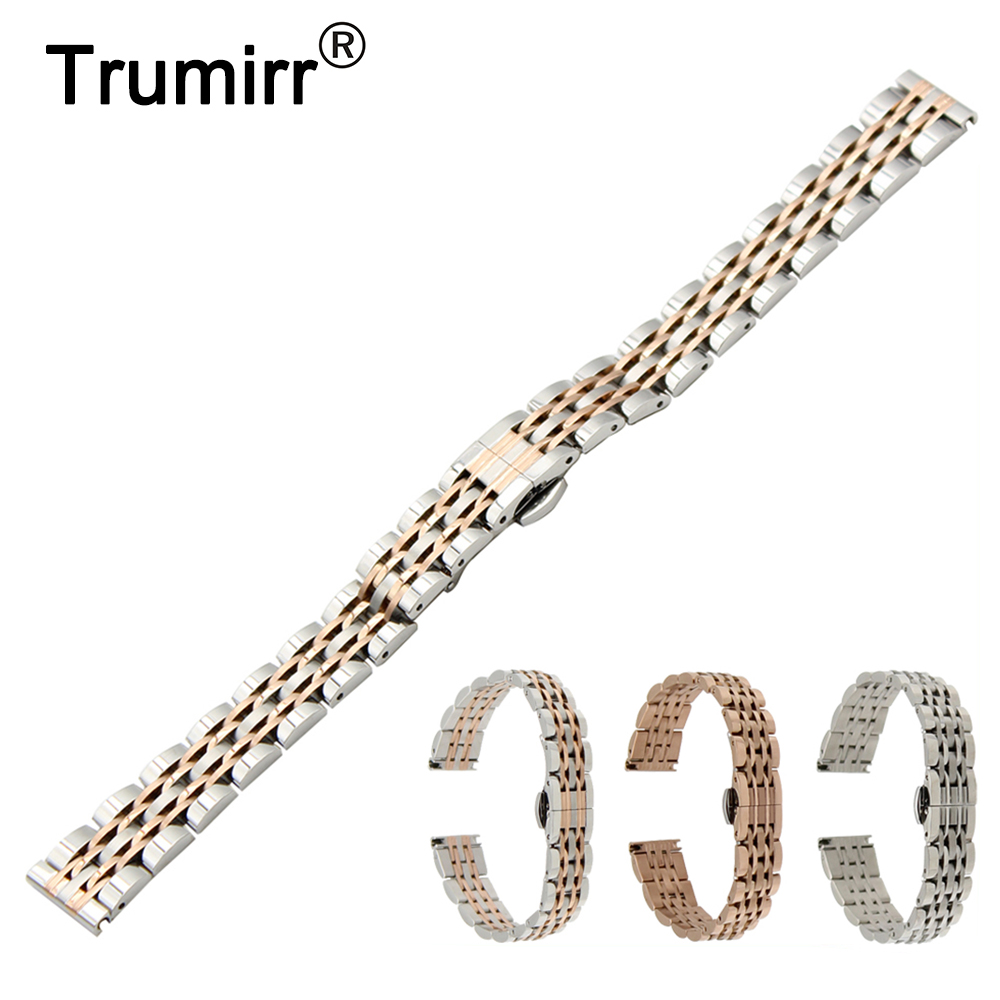 Stainless Steel Watch Band + Tool for Pebble Time Round 14mm Women Butterfly Buckle Strap Wrist Belt Bracelet Rose Gold Silver цена