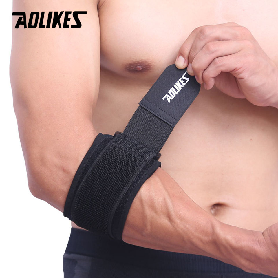 AOLIKES 1PCS Adjustbale Tennis Elbow Support Guard Pads Golfer's Strap Elbow Lateral Pain Syndrome Epicondylitis Brace motorcycle cycling mtb elbow sleeve guards protective pads black padded elbow support brace arm guard gel pads