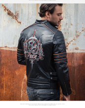 DHL Free shipping Brand clothing harlry skull leather Jackets men s genuine Leather biker jacket motorcycle
