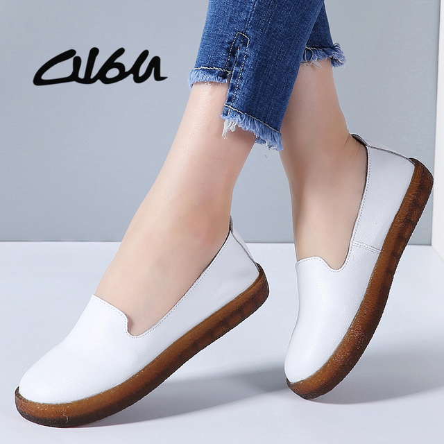c4abe2fb426a O16U Women Flats Shoes Genuine Leather Slip-on Round Toe Muscle Sole Ladies  casual Shoes Comfortable Soft Shoes Female Fall