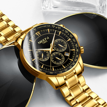 NIBOSI Chronograph Men Watches Top Brand Luxury 2019 Gold Black Sports For Military Army Clock Relogio Masculino