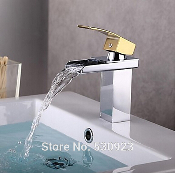 ФОТО Newly Chrome Finish Solid Brass Bathroom Basin Sink Faucet Waterfall Tap Mixer Tap Single Golden Handle Deck Mounted