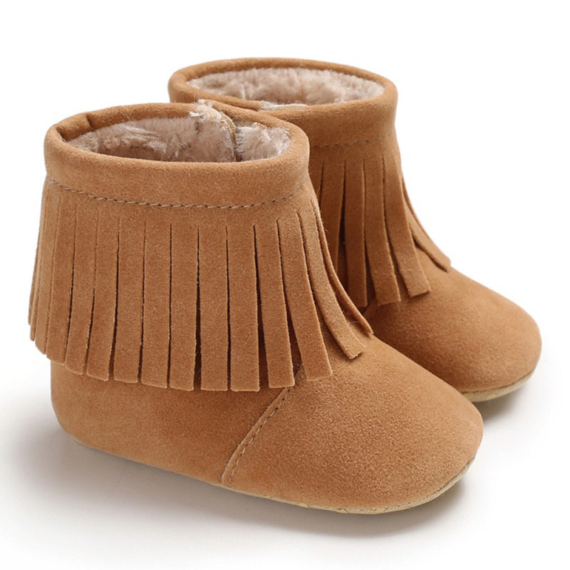 Cute Fringe Baby Boot With Fur Inside Infant Toddler Moccasins For Girls Keep Warm Little Kids Booties Soft Bottom Shoes