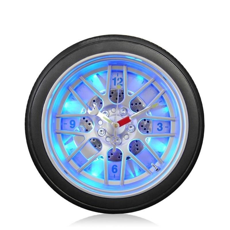New arrivals creative Led digital Automotive tires wall clock exotic personalized led light growing clock car bar decor clock