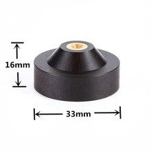 33mm x 16mm alto falante espigão isolamento ebony suporte de madeira pés base de alta fidelidade isolador de madeira
