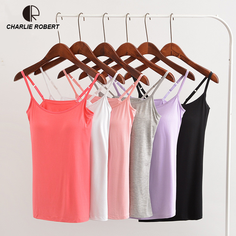 Summer Modal Bra   Tank     Top   Women Spaghetti Strap Camisole with built in bra Padded Self Mold Bra Solid Casual female   Tops   Vest