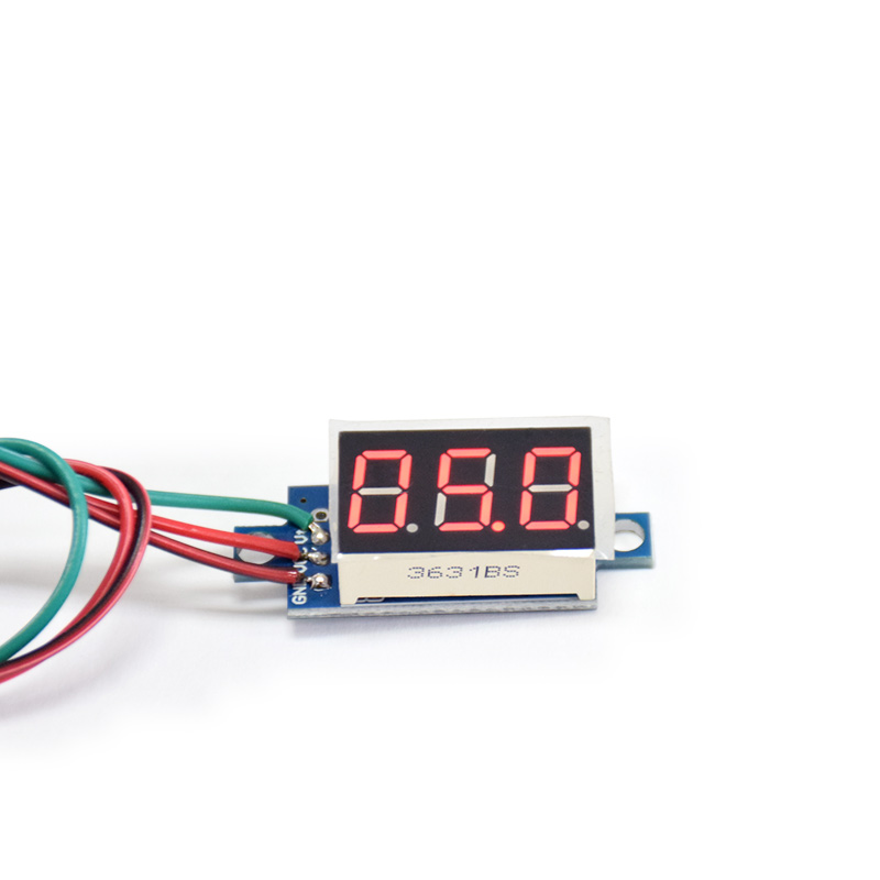 Direct Current DC 0-100V 0.36 Inch Red LED Digital Display Voltmeter Panel With Cable