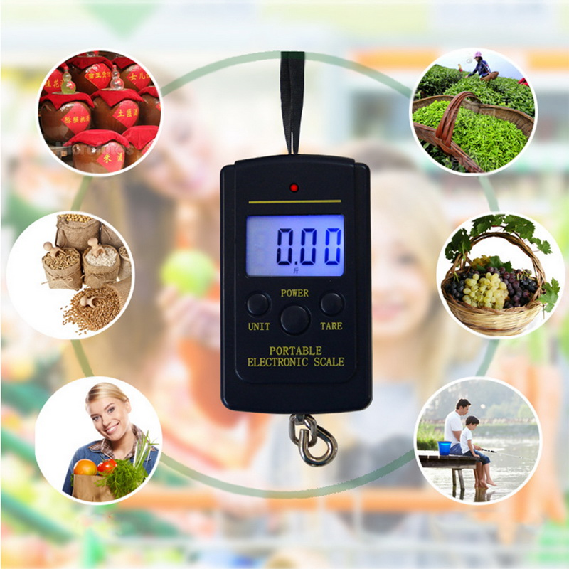 Image 2 - 40kg x 10g Mini Digital Scale for Fishing Luggage Travel Weighting Steelyard Hanging Electronic Hook Scale, Kitchen Weight Tools-in Weighing Scales from Tools