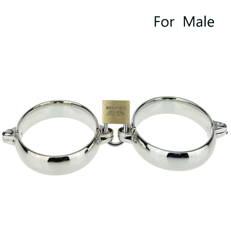 Maxde Superior Handcuffs Stainless Steel Bondage Restraints Female and Male for Fun Self Defence Free Shipping
