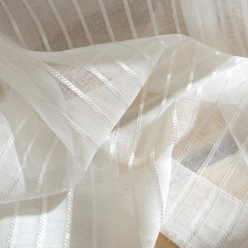 Modern Striped Tulle Curtains For Living Room Window Screening Voile Sheer Curta