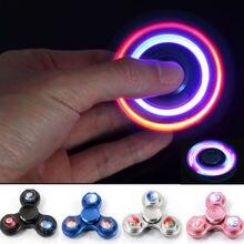 2017 Hot LED Light Metal Hand Spinner Aluminium Ceramic Finger Ball Fidget Toys Flashing Kid ADHD Toy
