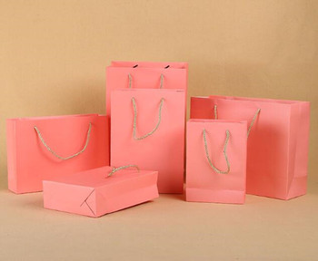 Pink Color Paper Bag 100PCS/LOT Gift Bag Packaging Bag 6 Size Available Can Printing LOGO