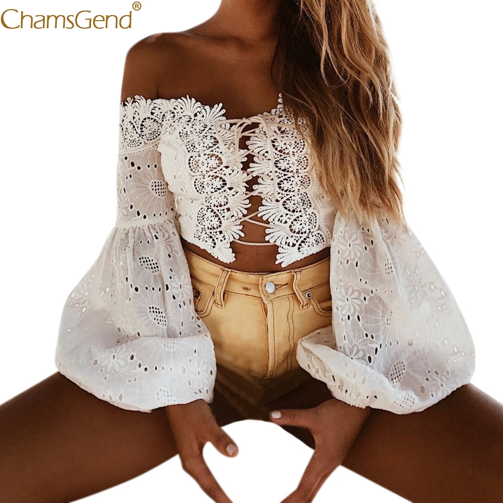 Free Shipping Women Sexy Lace Off Shoulder Bandage Crop Top Hollow Out Puff Long Sleeve Corset   Blouse     Shirt   80521 Drop Shipping
