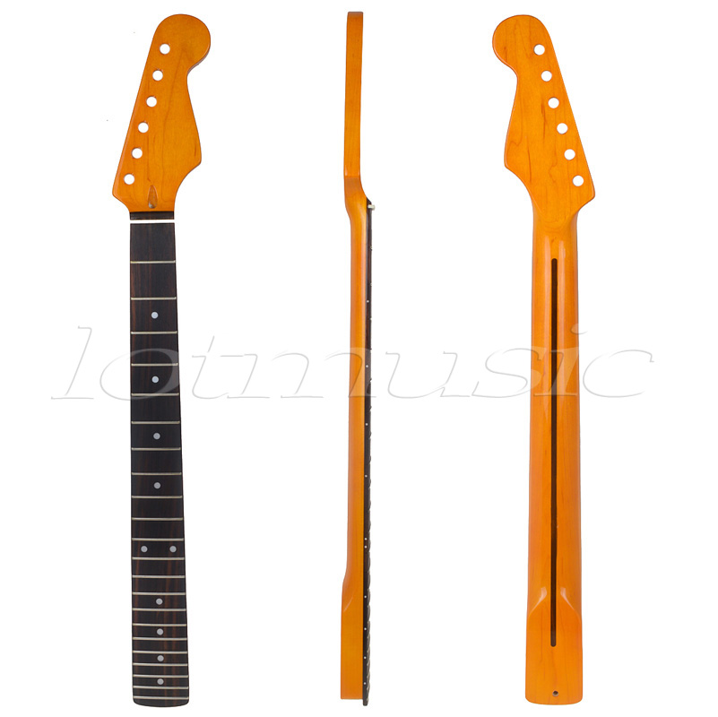 Maple Electric Guitar Neck 22 Fret Rosewood Fretboard for Electric Guitar Replacement Parts 1 pcs electric guitar neck maple wood fretboard truss rod 22 fret tiger stripes maple neck xylophone