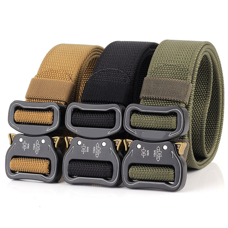 2020 Military Tactical Quick Metal Buckle Belt 1000D Oxford Wear Resistant Outdoor Fighting Molle Nylon Versatile Belt 5 Colors