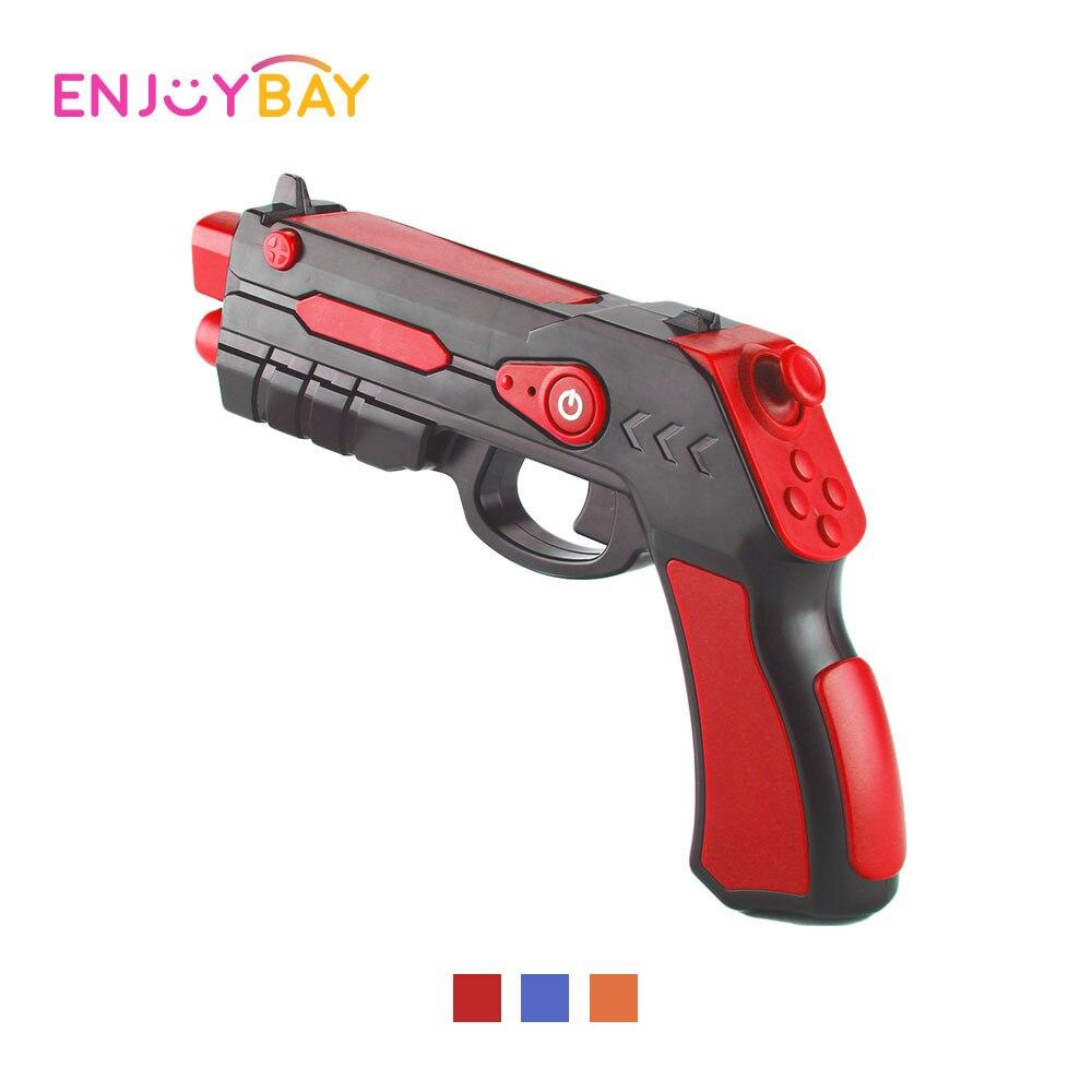 Enjoybay inalámbrico Bluetooth AR pistola juguetes teléfono juego controlador de detección pistola con soporte de teléfono Airsoft pistola para jugadores niños juguete
