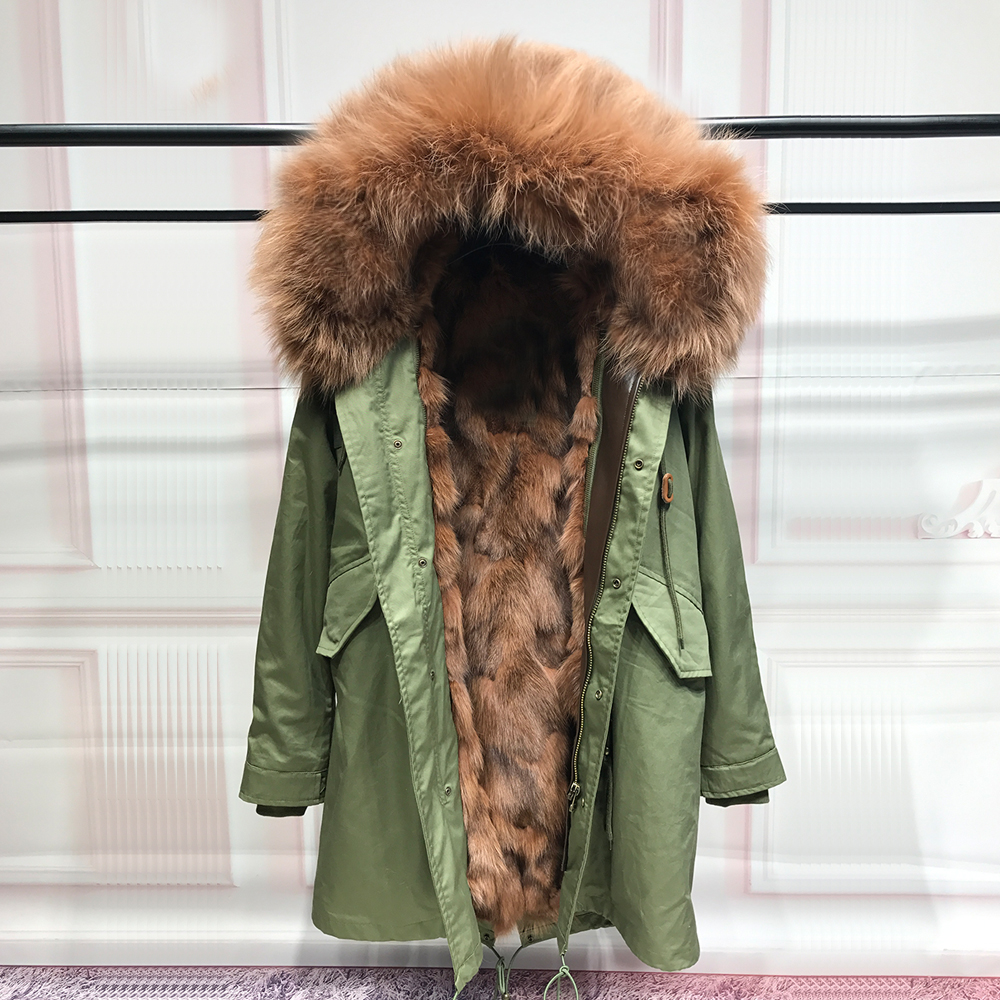 NEW Fashion Real Fox Fur Liner winter jacket women army green parka coat raccoon fur collar hooded parkas thick outerwear 2017 winter new clothes to overcome the coat of women in the long reed rabbit hair fur fur coat fox raccoon fur collar