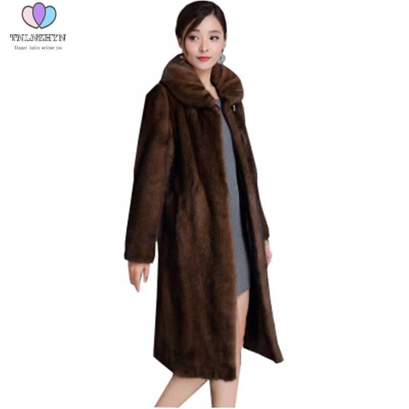 2019 Winter Fashion High end Lady Imitation Fur Coat Female  Faux Mink Fur Coat Long Women Mink Fur Jacket Clothing Plus size6XL