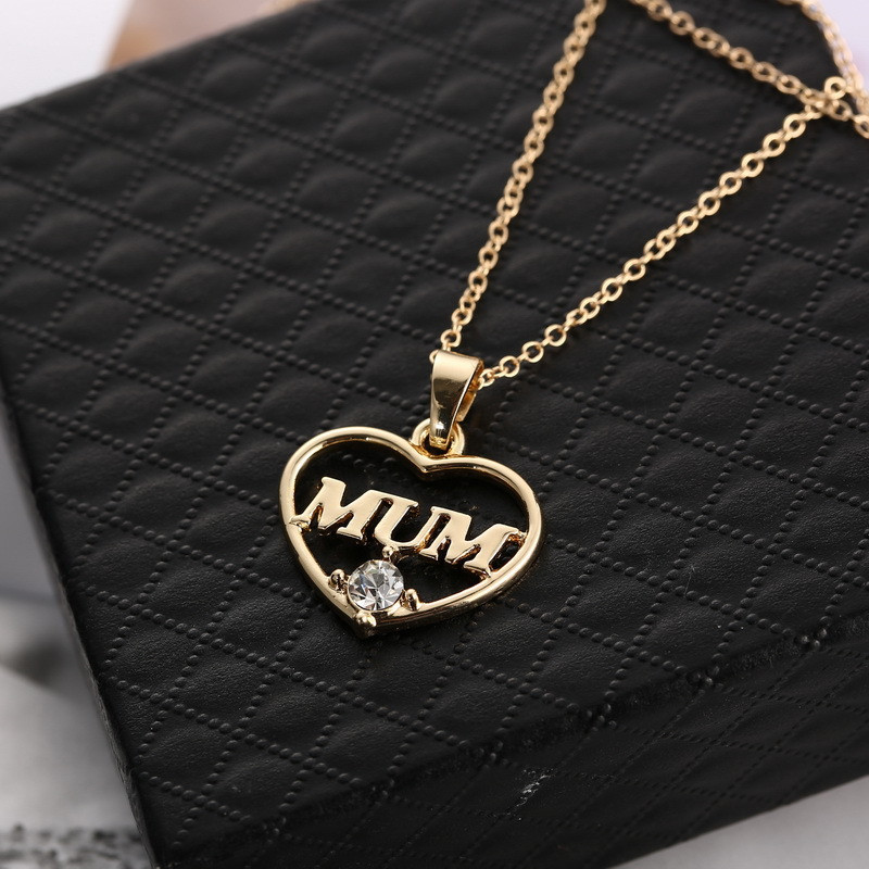 "ZN 2019 Gold Color Love ""Mum"" Crystal Heart Pendant Necklace Mother's Day Gifts for mother Sweater Chain Necklaces Best Gifts 27"