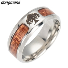 F467 Nordic Vikings Runes Amulet Yggdrasil jewelry mosaic wood Semi-circle Stainless Steel  Rings For Men Boyfriend Gift