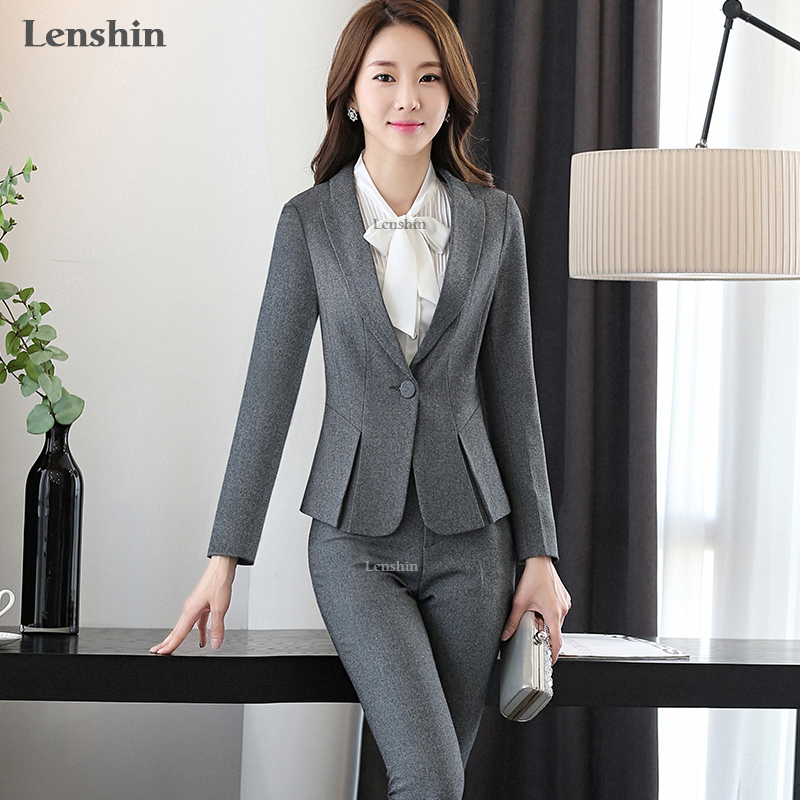 Lenshin 2 조각 세트 여성 비즈니스 정장 공식 사무실 레이디 유니폼 디자인 스타일 회색 바지 정장 새로운 여성 작업복 블레이저-에서바지 슈트부터 여성 의류 의  그룹 3