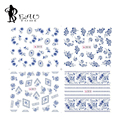 2016 1 Листов Новый Китайский Синий и Белый Фарфор дизайн Ногтей Вода Переводные Картинки 3D Nail Art Украшения Наклейки 2015