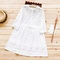 Primavera do sexo feminino estilo preppy pequeno fresco sweet 100% algodão recorte cintura fina branco dress