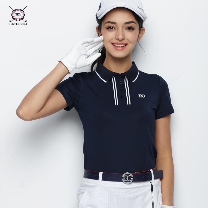 купить 2018 BG Women's Golf Short Sleeved T-shirt Ladies Summer Repair Korean Version Anti-Pilling Golf POLO Shirts 2 Color White Black по цене 3430.71 рублей