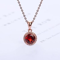 fine jewelry factory wholesale fashionable white rose gold color 925 sterling silver red garnet natural crystal pendant