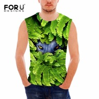 FORUDESIGNS Funny 3D Green Plants And Animal Eyes Printing Tank Top Sleeveless Clothes Fitness Men Cool