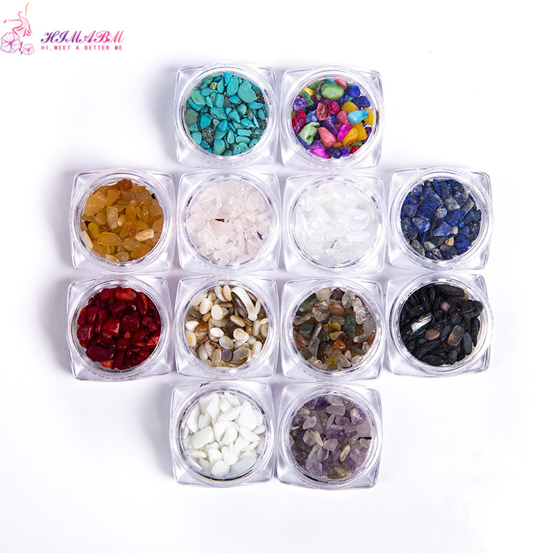 HIMABM 1 pack=100g Colorful Irregular Natural Stone 3D Nail Art Decorations Whee DIY Beauty Nail Jewelry Accessories free shipping natural stone powder nail decoration nail art packed in a glass bottle 10ml pot it is made of natural stone