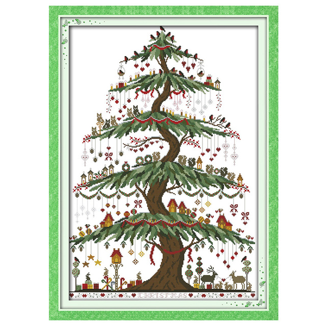 christmas tree 2 patterns counted cross stitch 11ct 14ct cross stitch set chinese cross