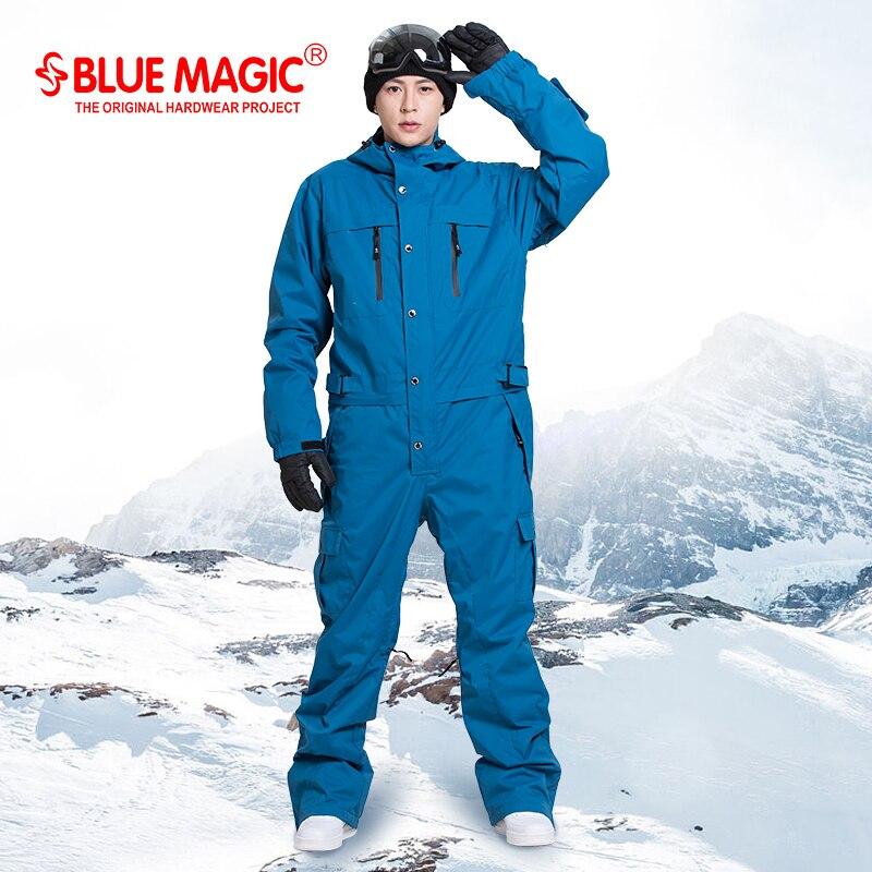Синий волшебный водостойкий Сноубординг цельный лыжный комбинезон мужской сноуборд-30 градусов Снежный лыжный костюм зимняя одежда комбин...