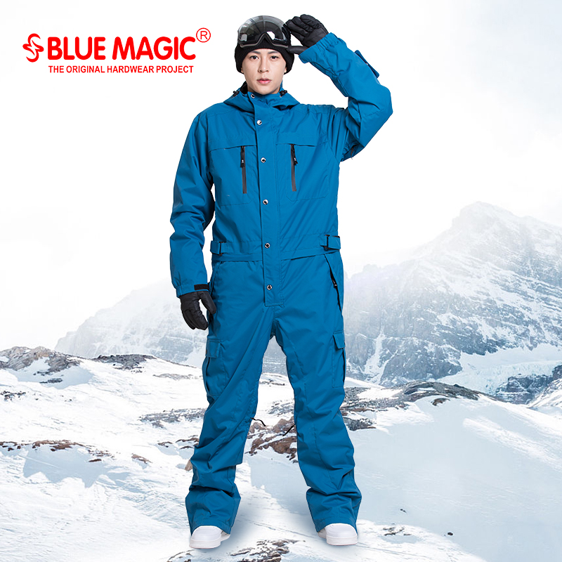 Bleu magique étanche snowboard d'une seule pièce ski salopette hommes snowboard-30 degrés neige ski costume D'hiver vêtements combinaison