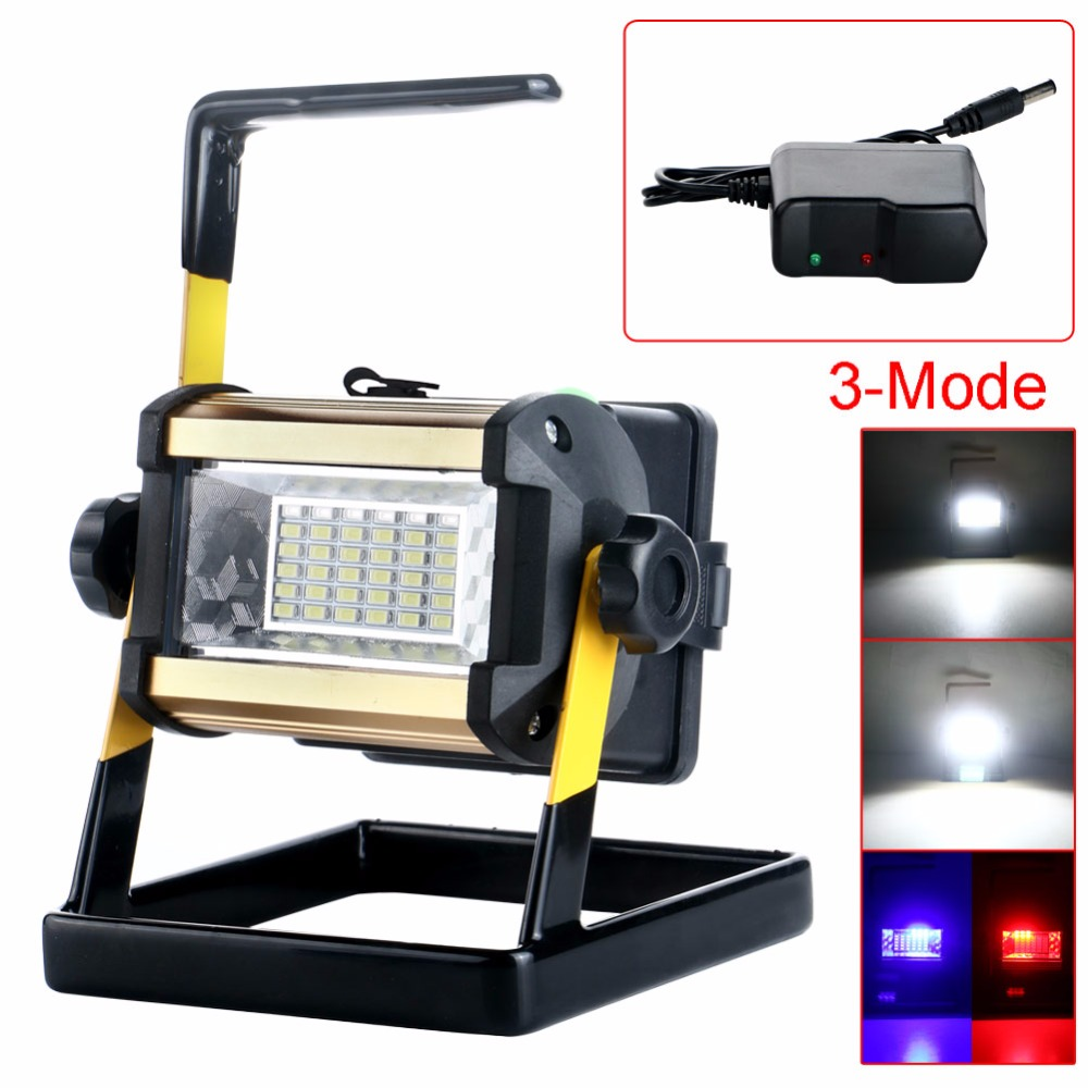 Super Bright 36LED 50W 3Modes Outdoor Waterproof Portable Rechargeable Floodlight Work Emergency Light+Plug Set