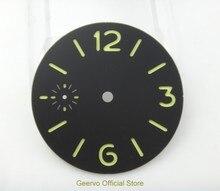 36,3mm GEERVO mode stérile lumineux nombre cadran noir fit 6497 mouvement montre pour hommes cadran 06