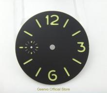 36,3mm GEERVO mode steriele lichtgevende Aantal zwarte wijzerplaat fit 6497 uurwerk horloge wijzerplaat 06