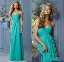 2015 New Popular Column Sweetheart Chiffon Long Pleat Mint Green Bridesmaid Dresses for Adult Prom Dress Vestido De Madrinha
