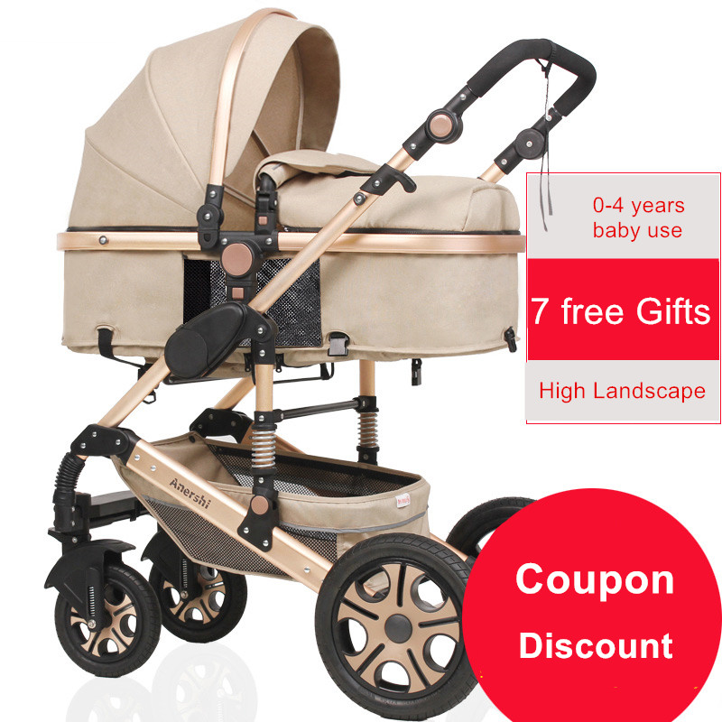 2017 baby stroller high landscape trolley can be sitting can be lying strollers light folding shock bb umbrella stroller cart