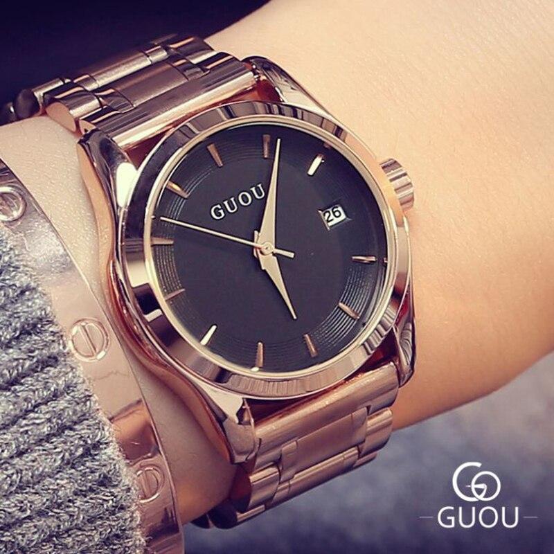 GUOU Women's Watches 2019 Business Ladies Watch Rose Gold Bracelet Watch Women Stainless Steel Auto Date Clock relogio feminino